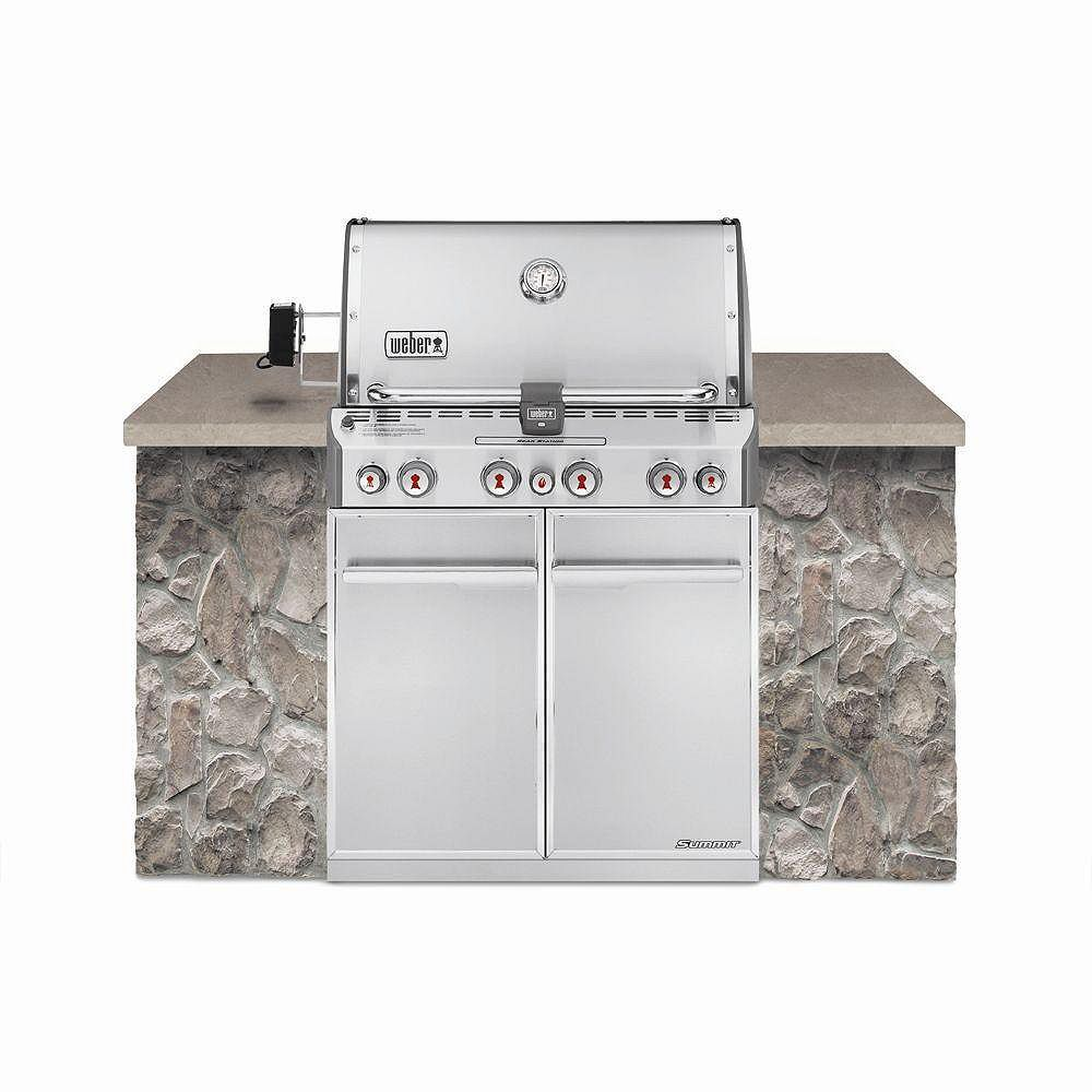 Weber Summit S-460 4-Burner Built-In Propane BBQ in Stainless Steel with BBQ Cover and Built-In Thermometer