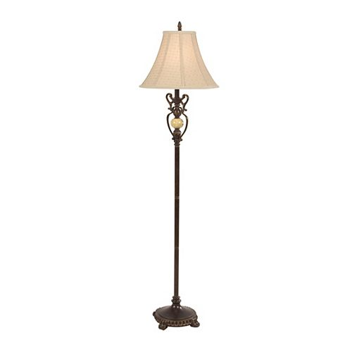 Lampe De Table Bronze Italienne Avec Finition Marbre Brun