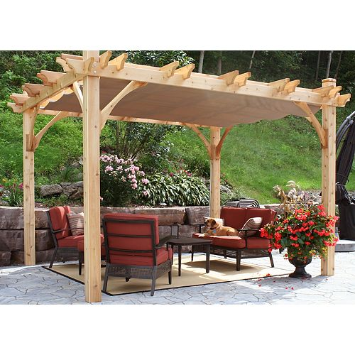 Breeze 10 ft. x 12 ft. Pergola with Retractable Canopy Kit in Driftwood