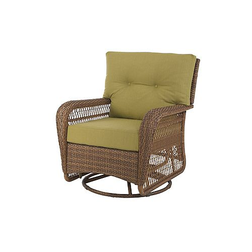 Charlottetown Swivel Patio Rocking Chair in Brown with Green Cushions