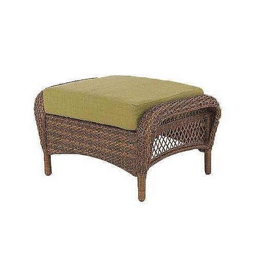 Charlottetown Outdoor Ottoman in Brown with Green Cushion