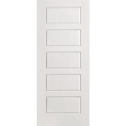 Porte intérieure apprêtée 5 panneaux égaux 28 pouces x 80 pouces