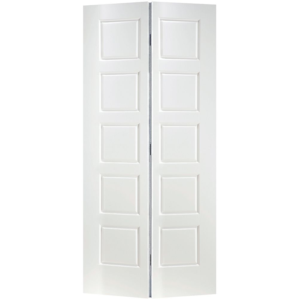 Masonite 36-inch x 80-inch Primed 5-Panel Equal Smooth Interior Closet Bifold Door