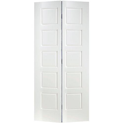 Porte intérieure de garde-robe 5 panneaux égaux lisse 36 pouces x 80 pouces
