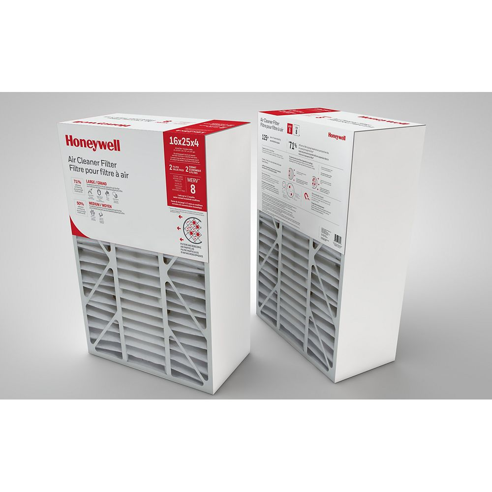 Honeywell Air Cleaner Filter 16x25x4 Inch - (2-Pack)