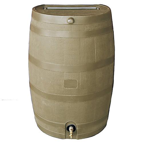 Flat-Back Rain Barrel With Brass Spigot, 50USG Tan