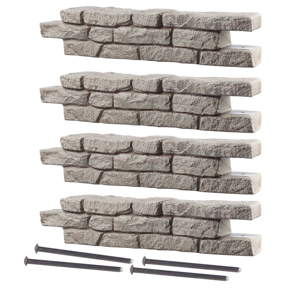 "RTS Home Accents Rock Lock Raised Garden Bed, 4 Straight Pieces & four -18"" Spikes"