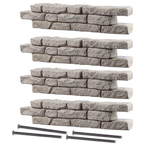 """Rock Lock-Mur pour plate-bande, 4 pièces droites avec barres d'ancrage de 18"""""""