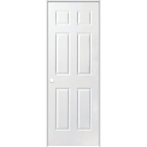 Porte intérieure prémontée acousti-sûre 6 panneaux texturé 28 pouces x 80 pouces ouverture droite