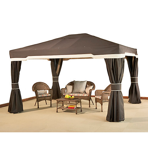 Cayman 10 ft. x 12 ft. Sun Shelter with Curtains in Chocolate Brown and Beige