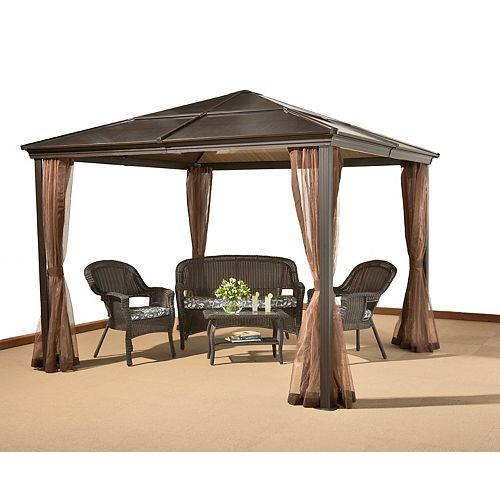 Sumatra 10 ft. x 10 ft. Sun Shelter with Mosquito Net in Chocolate