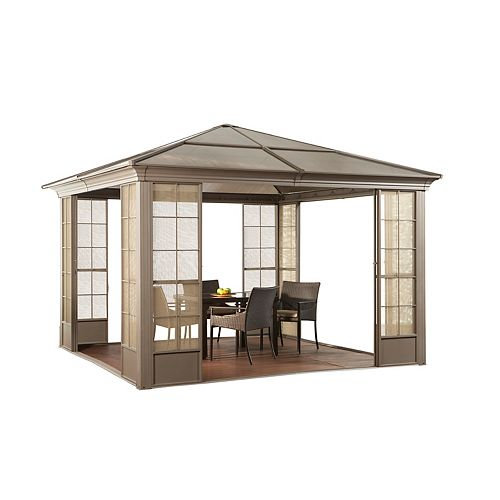 Newtown 12 ft. x 12 ft. Solarium with 4 Sliding Doors in Sand