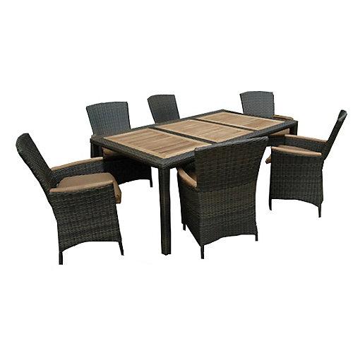 "HERITAGE chestnut-wicker teak 7-Piece dining set w/ cushions, table 42 x 75"""" w/ umbrella pole"