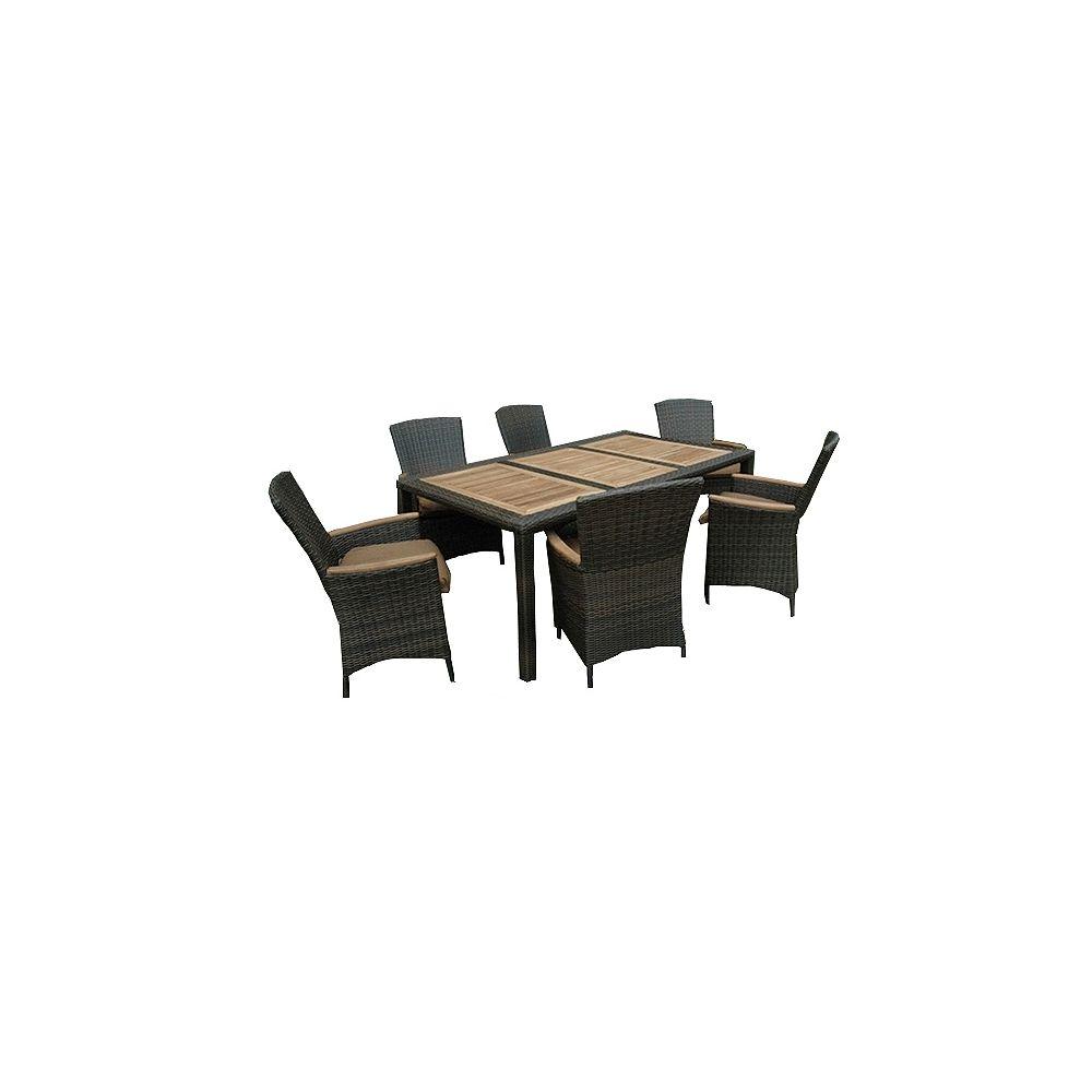 "Sojag HERITAGE chestnut-wicker teak 7-Piece dining set w/ cushions, table 42 x 75"""" w/ umbrella pole"