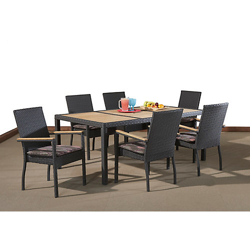 Benito Chestnut -Wicker Teak 7-Piece Dining Set with Cushions, Table 42 x 75 Inch with Umbrella Hole