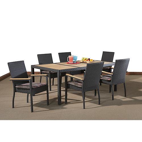 """BENITO Marron - Fauteuil rotin aluminium avec des bras en teck et coussins BENITO Marron - Table rotin teck 42"""" x 75"""" avec trou de parasol"""