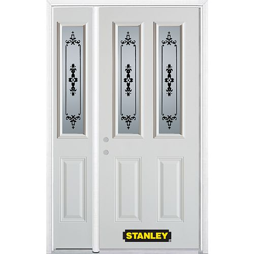 STANLEY Doors 50.25 inch x 82.375 inch Renoir 2-Lite 2-Panel Prefinished White Right-Hand Inswing Steel Prehung Front Door with Sidelite and Brickmould