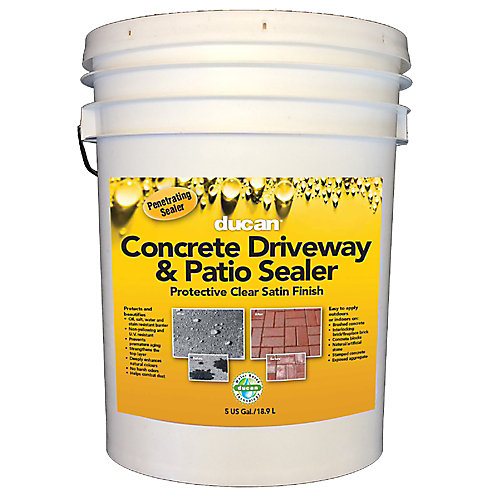 Concrete Driveway & Patio Sealer is a Waterbased sealer that provides a protective satin finish for driveways and patios.  Can be used indoors or out.