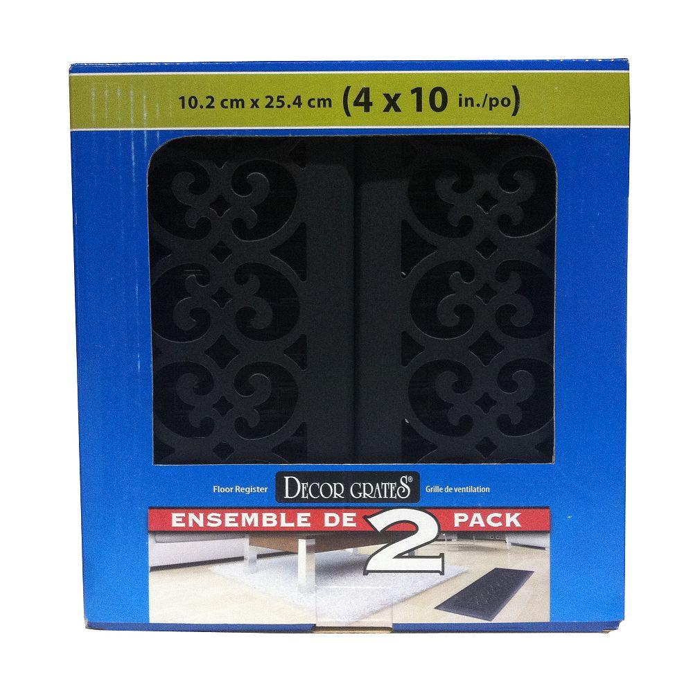 Decor Grates Registres de plancher en apparence de fonte texturée noire 4 po x 10 po - Paquet de 2