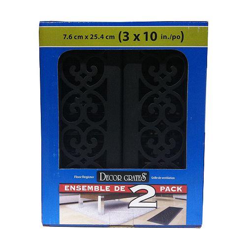 Textured Black Cast Iron Look Steel Floor Registers, 3 Inch x 10 Inch - (2-Pack)