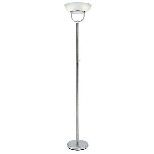 Lampe torchère avec diffuseur, 72po, fini nickel brossé et verre d'albâtre