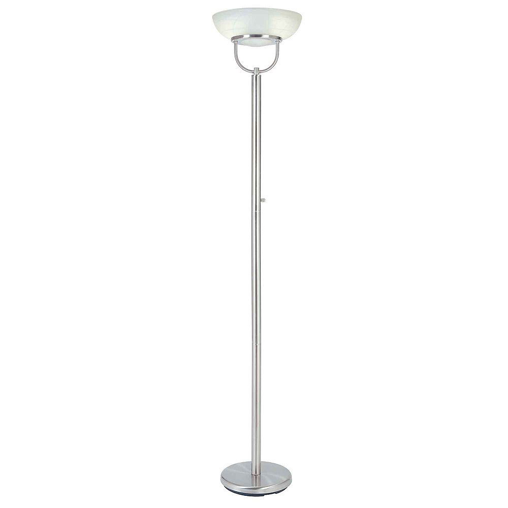 Hampton Bay 72-inch Touchiere Floor Lamp in Brushed Nickel with Alabaster Glass Shade