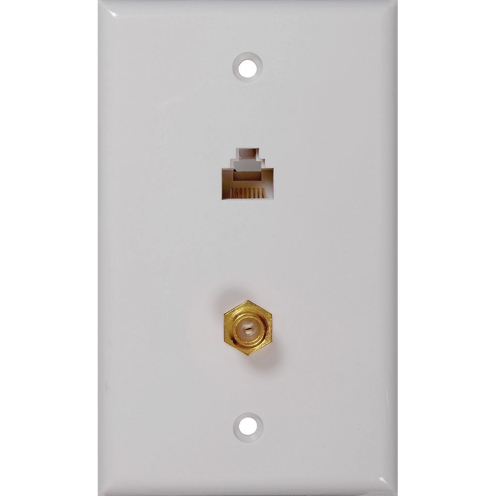 RCA Rj45 & Coaxial Jack Wall Plate