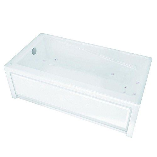 New Town 6032IFS White Acrylic Whirlpool Tub with Integrated Flange and Skirt with Left-Hand Drain