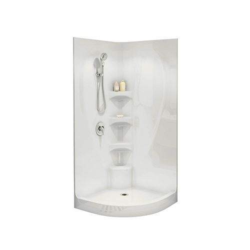 Equinox I 1-Piece Neo-Round Shower Stall in White
