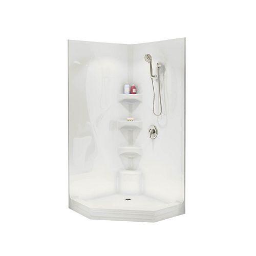 Equinox II 1-Piece Neo-Angle Shower Stall in White