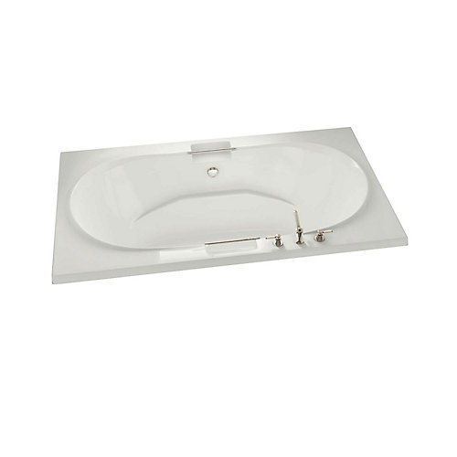Antigua Acrylic Soaker Bathtub with Polished Chrome Grab Bars in White