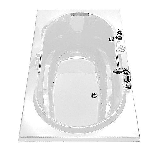 Antigua Aerosens Acrylic Bathtub with Polished Chrome Grab Bars in White