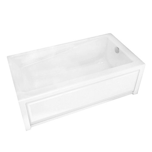 New Town 6030IFS White Acrylic Soaker Tub with Integrated Flange and Skirt with Right-Hand Drain