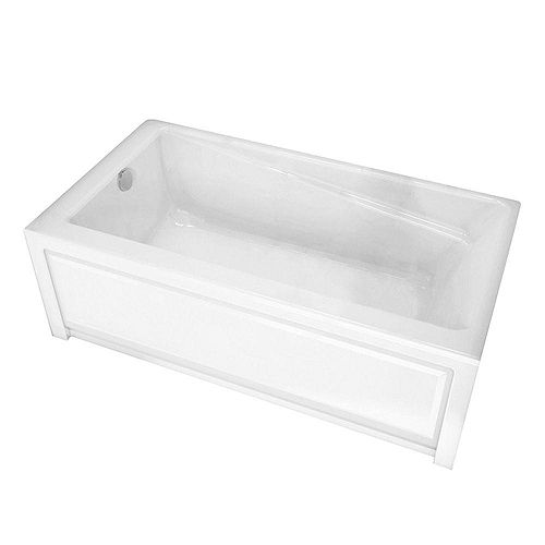 New Town 6032IFS White Acrylic Soaker Tub with Integrated Flange and Skirt with Left-Hand Drain