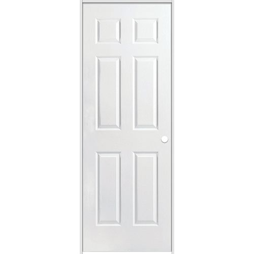 Masonite 24-inch x 80-inch Lefthand Primed 6-Panel Textured Prehung Interior Door with Rabbeted Jamb