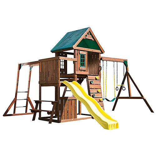 Chesapeake Complete Wood Playset with Swings, Climbing Wall, Slide, and Monkey Bars