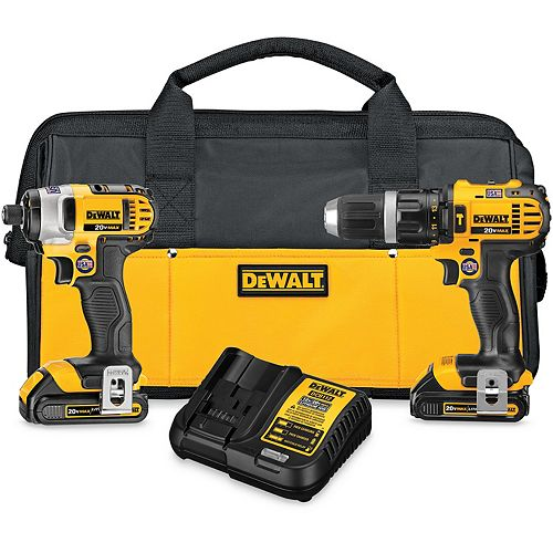 DEWALT 20V MAX Lithium-Ion Cordless Hammer Drill/Impact Driver Combo Kit (2-Tool) with (2) Batteries 1.5Ah, Charger and Bag
