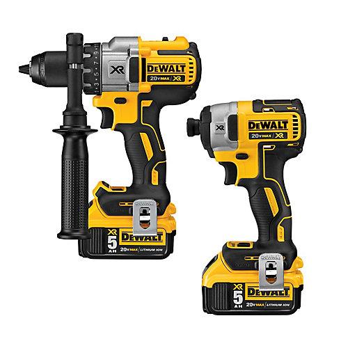 20V MAX Li-Ion Cordless Hammer Drill/Impact Driver Combo Kit (2-Tool) w/ (2) Batteries 3.0Ah, Charger and Bag