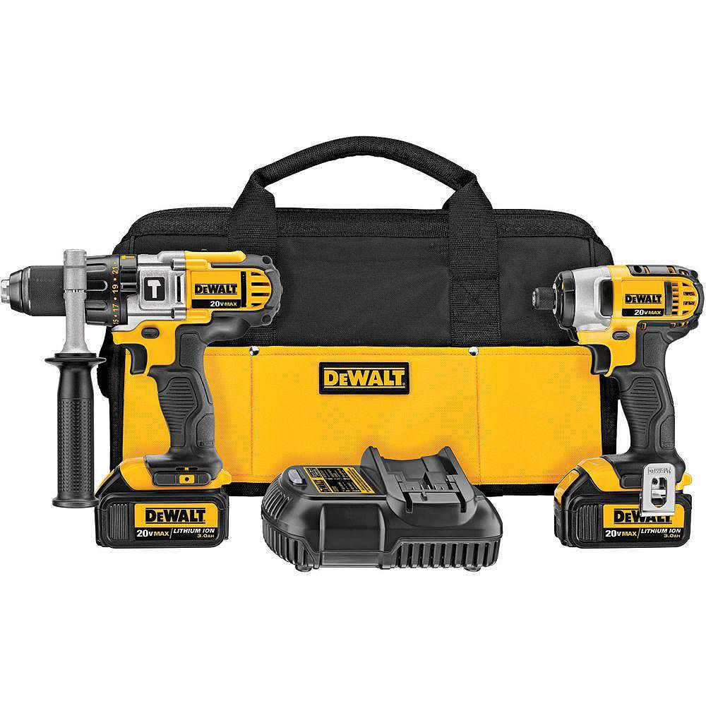 DEWALT 20V MAX Lithium-Ion Cordless Hammer Drill/Impact Driver Combo Kit (2-Tool) with (2) Batteries 3.0Ah, Charger and Bag