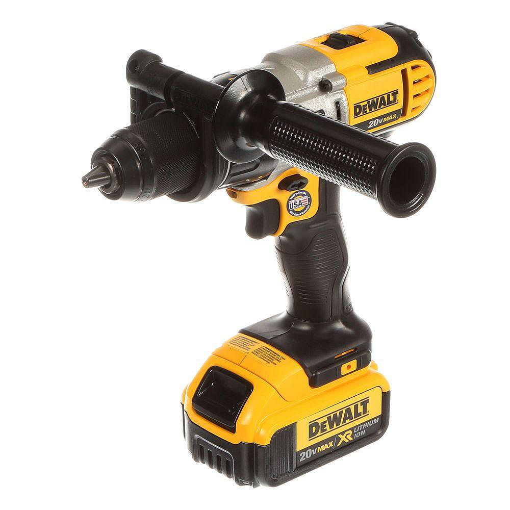 DEWALT 20V Max Lithium-Ion Cordless 1/2-inch Hammer Drill with (2) 4Ah Batteries, Charger and Case