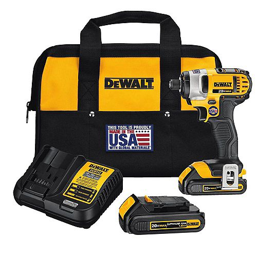20V MAX Lithium-Ion Cordless 1/4-inch Impact Driver with (2) Batteries 1.5Ah, Charger and Tool Bag