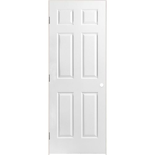 Masonite 28-inch x 80-inch Lefthand Primed 6-Panel Textured Prehung Interior Door with Rabbeted Jamb