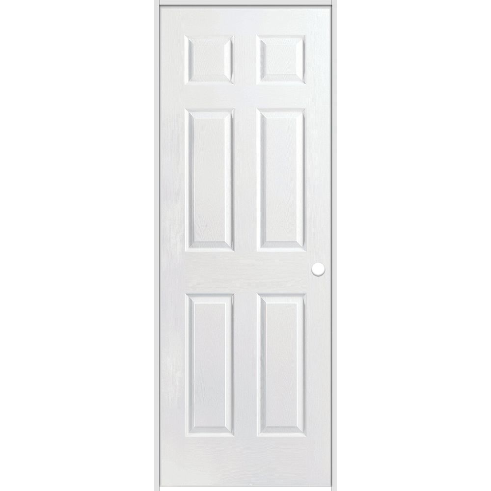 Masonite 30-inch x 80-inch Lefthand Primed 6-Panel Textured Prehung Interior Door with Rabbeted Jamb