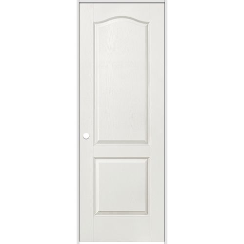 32-inch x 80-inch Righthand Primed 2-Panel Arch Top Textured Prehung Interior Door with Jamb