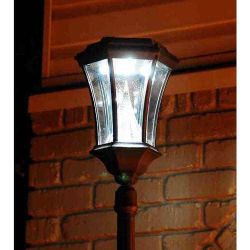 Lampadaire solaire victorien rouge rouille, à ampoule unique