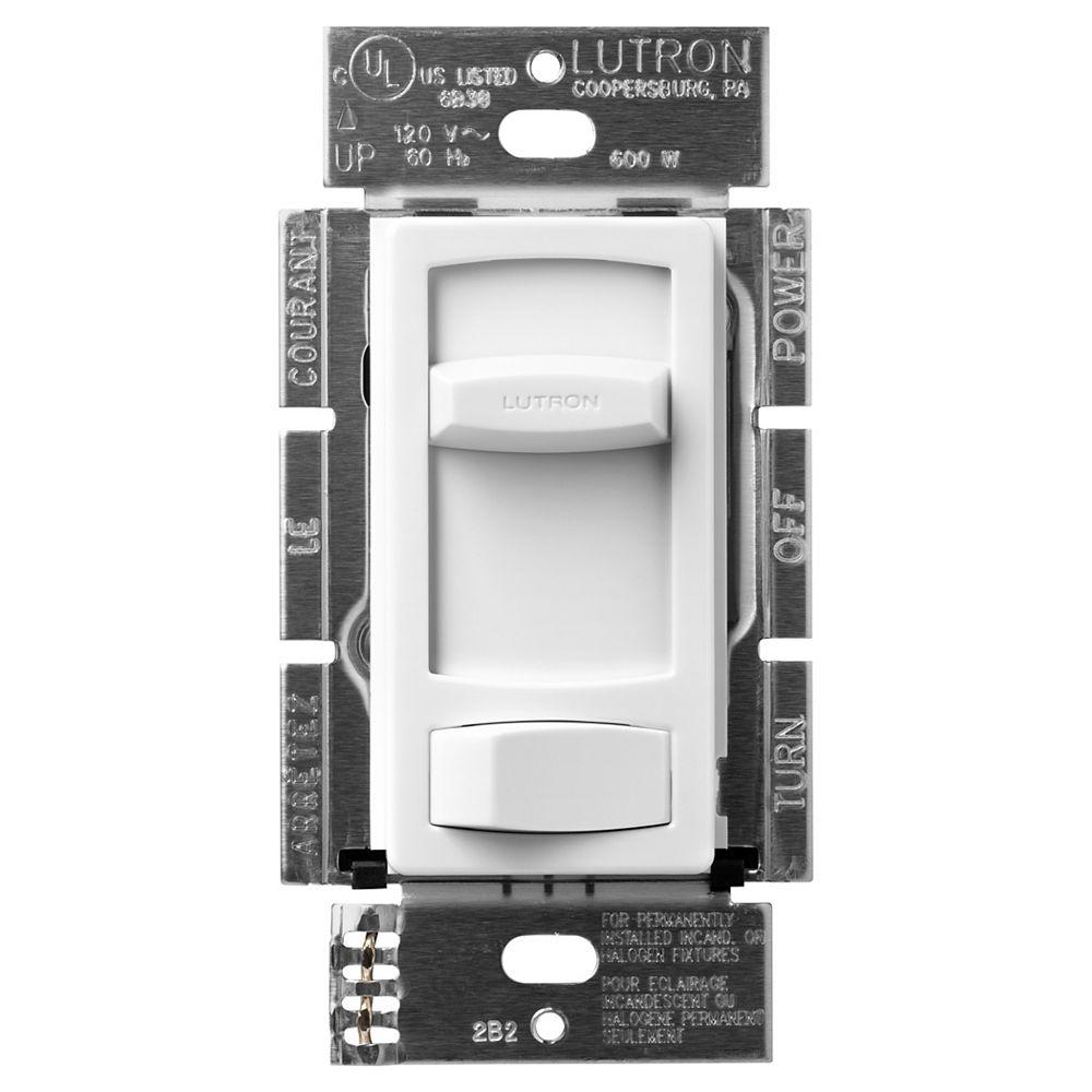 Lutron Gradateur Eco-dim Skylark Contour de Lutron, unipolaire 600 watts, application 3-voies, Blanc