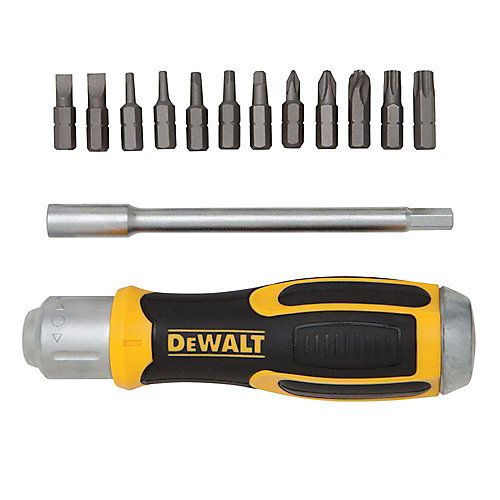 Ratcheting Screwdriver with Removable Bar and (12) Bits