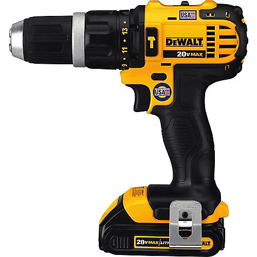 20V MAX Li-Ion Cordless Compact Hammer Drill/Driver Kit w/ (2) Batteries 1.5Ah, Charger and Contractor Bag