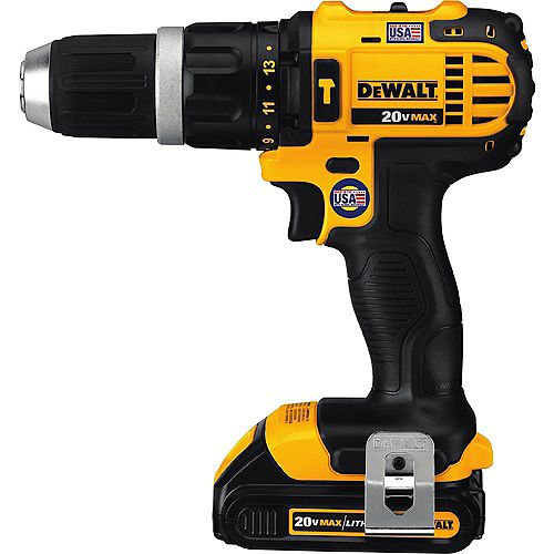 20V MAX Lithium-Ion Cordless Compact Hammer Drill/Driver Kit with (2) 1.5Ah Batteries, Charger and Bag