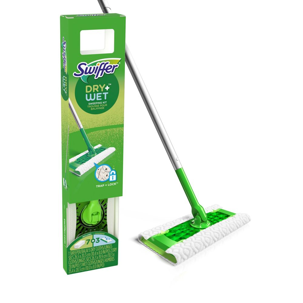 Sweeper Dry + Wet All Purpose Floor Mopping and Cleaning Starter Kit with Heavy Duty Cloths, Includes: 1 Mop, 10 Refills